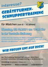 Flyer Schnuppertraining Geräteturnen 05.10.2021